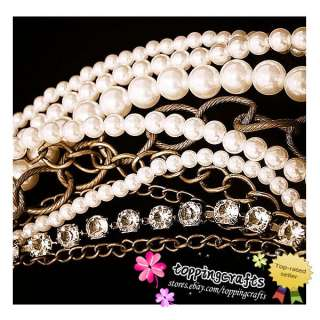 1pcs Fashion Exaggerated pin multi layer pearl necklace N243 FreeShip