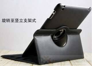 For Apple iPad 2 Leather Cover Case Pouch Stand 360° Rotating Smart