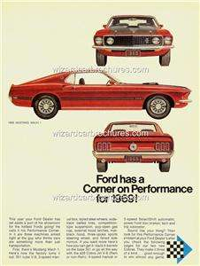 1969 FORD MUSTANG MACH 1 A3 POSTER AD SALES BROCHURE MINT