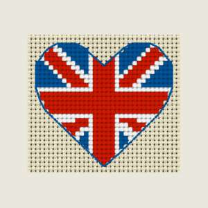 UNION JACK FLAG Heart ~ Full mini cross stitch kit