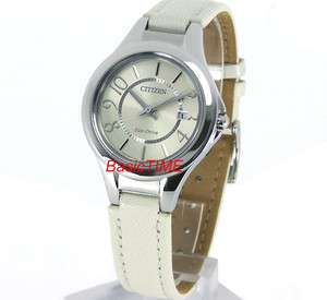 CITIZEN ECO DRIVE LADIES DATE MINERAL CRYSTAL LEATHER STRAP FE1020 02W