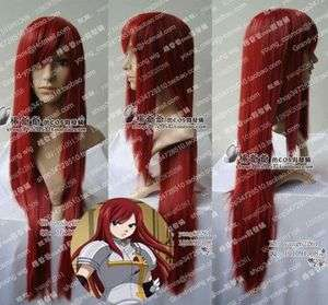 New FAIRY TAIL ERZA Dark Red cosplay long wig 80CM +Wig cap