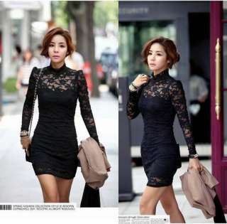 New Sexy Women Long Sleeve Polo Neck Clubwear Party Cocktail Lace Mini