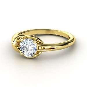 Hercules Knot Ring, Round Diamond 18K Yellow Gold Ring
