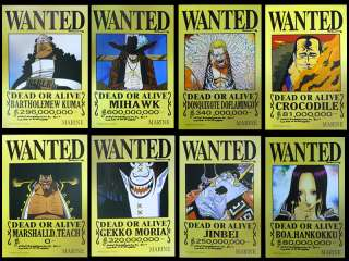 One Piece Boa Hancock Crocodile Wanted Poster 8pcs Set