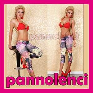 Leggings pantaloni capri donna effetto TATUAGGIO tattoo leggins pants