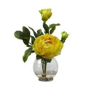 Peony with Fluted Vase Silk Flower Arrangement   Nearly Natural   1278
