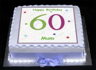 HAPPY 60TH BIRTHDAY Edible Icing Cake Topper Square 7.5