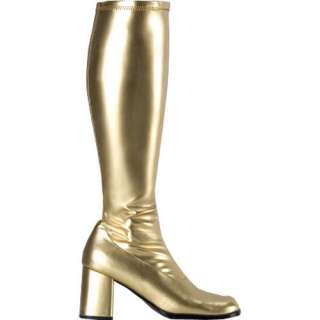 60s 70s Groovy Gold Abba Knee High GoGo Boots 6 6.5