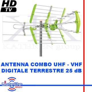 ANTENNA DIGITALE TERRESTRE 33 ELEMENTI COMBO UHF VHF DVBT HD GUADAGNO