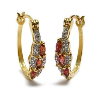 14K Gold over Sterling Silver Garnet & Diamond Earrings