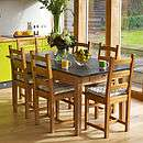 large oak garden table with slate top by slate top tables