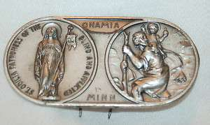 Vintage Saint Christopher & Saint Odilia Car Visor Auto Badge Pin