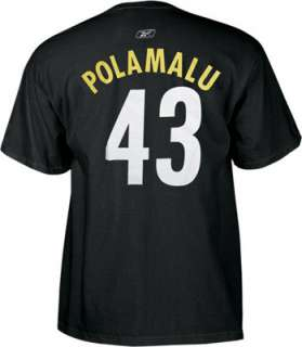 Troy Polamalu Reebok Name and Number Pittsburgh Steelers T Shirt
