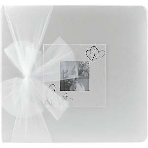 12 x 12 Post Bound Silver Foil Stamped Wedding Album   White with