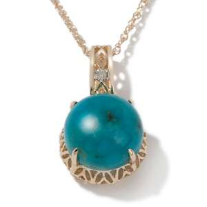 Heritage Gems Turtle Back Turquoise and Diamond 14K Pendant with 18