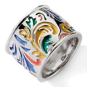 Destinations Enamel Sterling Silver Mosaic Wide Band Ring