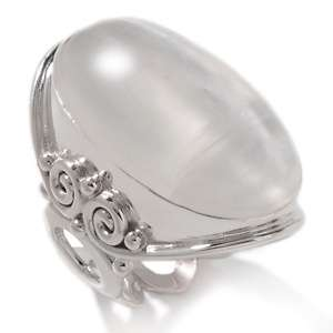 and Richard Jacobs Selenite Cabochon Sterling Silver Bold Oval Ring