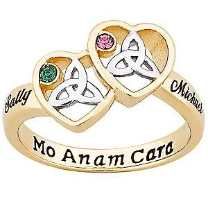 Names 2 Tone Celtic Heart Birthstone Color Crystal Ring