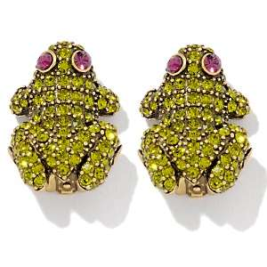 Heidi Daus Kissing Frog Crystal Accented Clip On Earrings