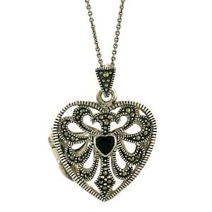Black Onyx and Marcasite Sterling Silver Filigree Heart Locket Pendant