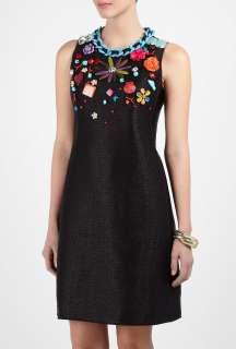 Moschino Cheap & Chic  Embelished Raffia Look Shift Dress by