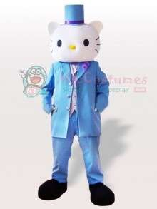 Male Hello Kitty in Blue Wedding Suit Adult Mascot Costume