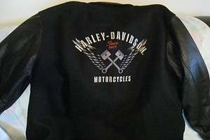 Harley Davidson Leather Wool Varsity Letterman Jacket Bomber 2XL