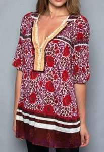 Free People SWEET POLAND Tunic RED NATURAL COMBO Top