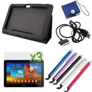 Black Folio Leather Protector Cover Case with Stand + 3 X LCD Screen