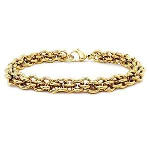 Stainless Steel Gold Plated Double Rolo Link Bracelet 8