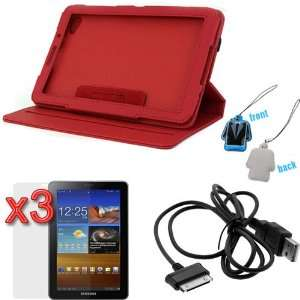 Rotating Folio Leather Cover Case with Built in Stand   Red + 3 X LCD