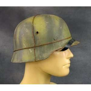 German WWII M35 Steel Helmet  Aged Summer Camouflage with