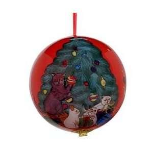 Cats Decorating Glass Globe Christmas Ornament