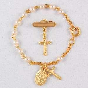 Baby Bracelet & Crucifix Pin Set, Boxed Childrens Girls Jewelry