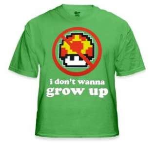 Wanna Grow Up T Shirt  Mario Bros. Mushroom Tee (Green) Clothing