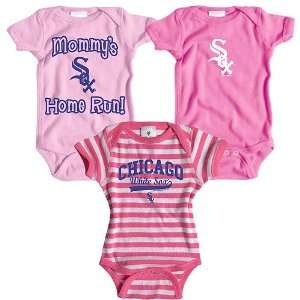 Chicago White Sox 3 Pack Girls Mommys Home Run Creeper Set by Soft as