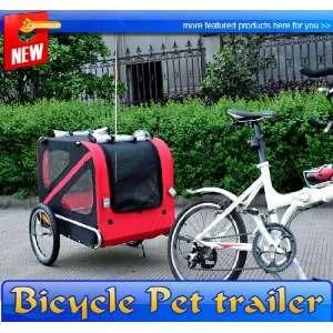Frugah Large Portable Pet Dog Bicycle Bike Trailer Folding Carrier Red