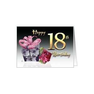 Gift box red rose birthday card Happy 18th Birthday pink