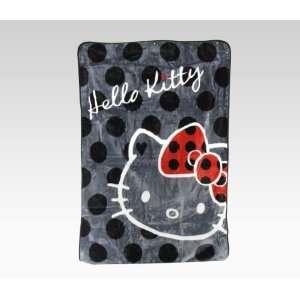 Hello Kitty Throw Blanket Black Polka Dot