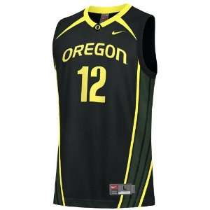 Nike Oregon Ducks #12 Black Replica Basketball Jersey