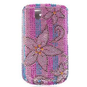 PINK BLUE FLOWER RHINESTONE BLING CASE COVER FOR BLACKBERRY