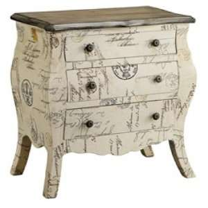 2 Drawer Bombe Chest with Script Fabric: Home & Kitchen