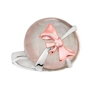 Gold Fancy Ring With Rose Quartz Bow   Size 6   JewelryWeb Jewelry