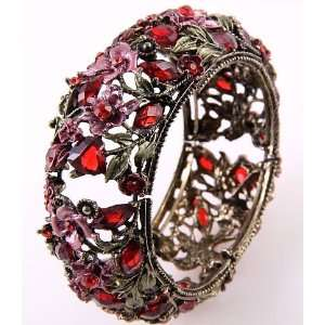 Jewelry Antique Metal Red Acrylic Jewelry Flower Cuff Bangle Bracelet