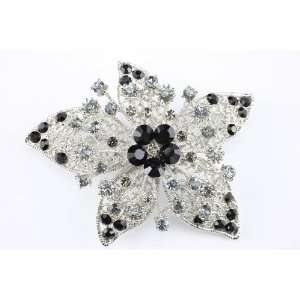 Black Swarovski Crystal Star Brooch Pin