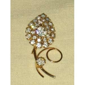 Vintage Rhinestone Gold Tone   1 x 2 Inch Brooch Pin