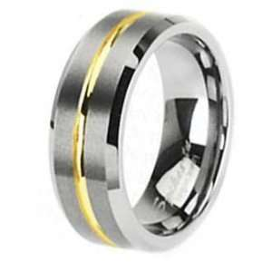 8MM Brushed Tungsten Ring with Gold Color Plated Striped