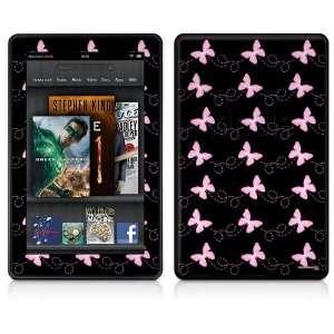Kindle Fire Skin   Pastel Butterflies Pink on Black
