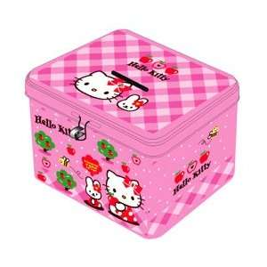 Kitty Sanrio Apples Square Coin Bank w/ Lock & 2 Keys Toys & Games